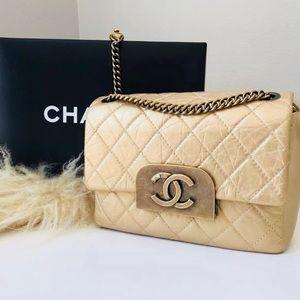 Chanel Gold Sac Rabat Flap Bag BNWT RARE